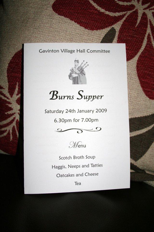 Burns Night 2009 Gavinton Fogo Polwarth Community Website