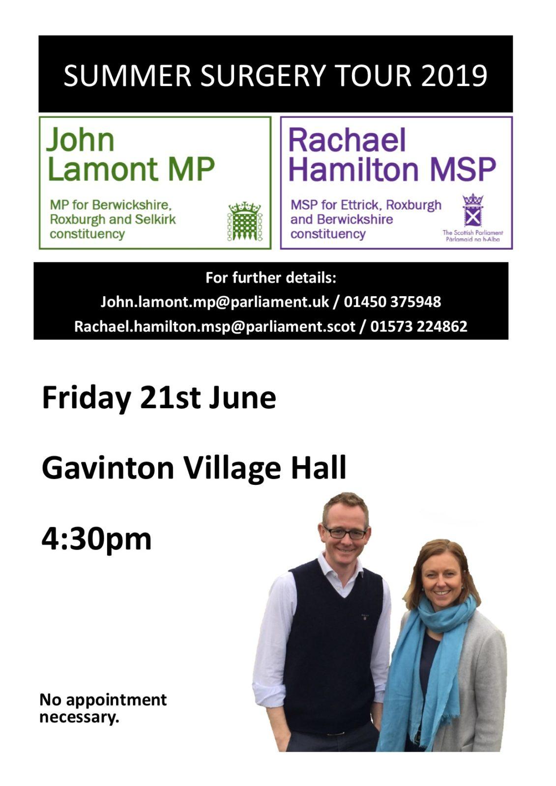 John Lamont MP and Rachael Hamilton MSP surgery meeting