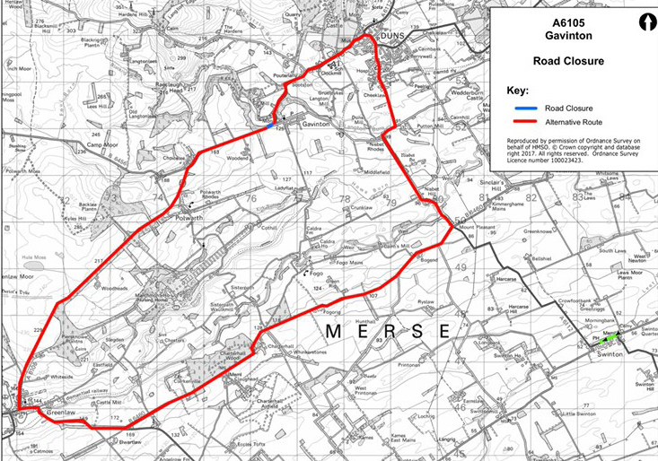 The A6105 at Gavinton will be closed from 1-3 July between 9am-5pm