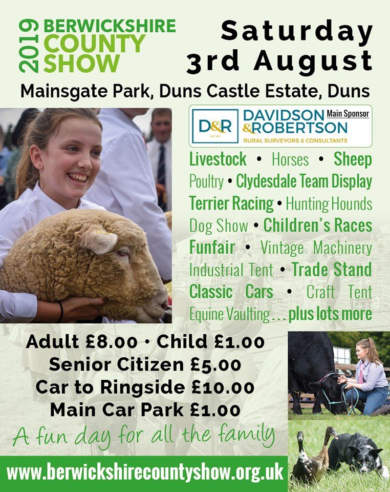 Berwickshire County Show at Duns Castle Estate on Saturday 3 August