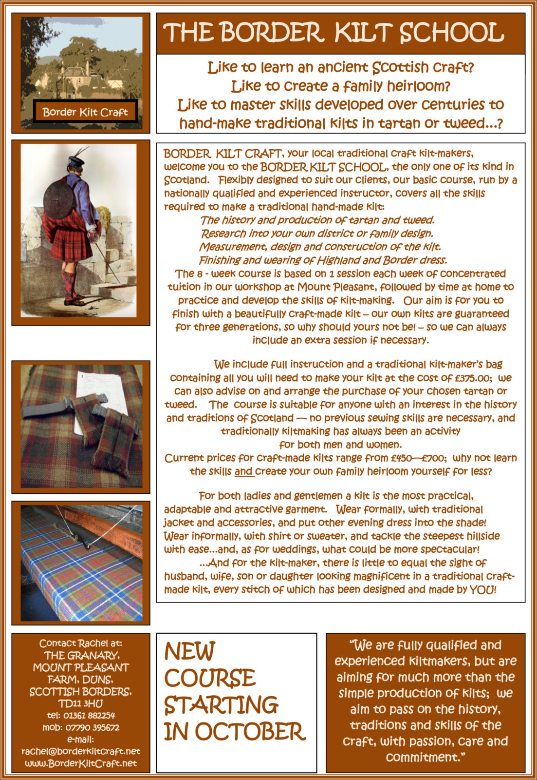 Traditional Kilt Making Class at Mount Pleasant Farm